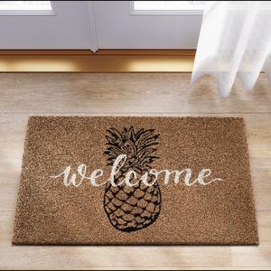 Pineapple Print Tufted Accent Welcome Doormat NWT